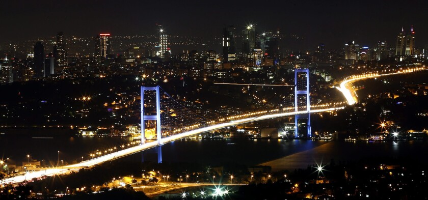 A file picture shows a night view over Istanbul with the Bosphorus Bridge in the foreground. According to reports, two bridges in Istanbul on 15 July 2016 were closed by the military. There was also reports of jets flying over Ankara. Prime minister Yildirim reportedly said that the Turkish military was involved in an attempted coup d'etat. (Golpe de Estado, Estanbul, TurquÌa) EFE/EPA/SEDAT SUNA