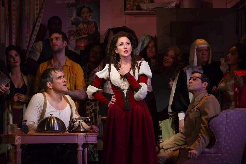 Anastasia Barzee (center) stars as Lilli Vanessi with the cast of the Hartford Stage/Old Globe co-production of 'Kiss Me, Kate' at The Old Globe Theatre.