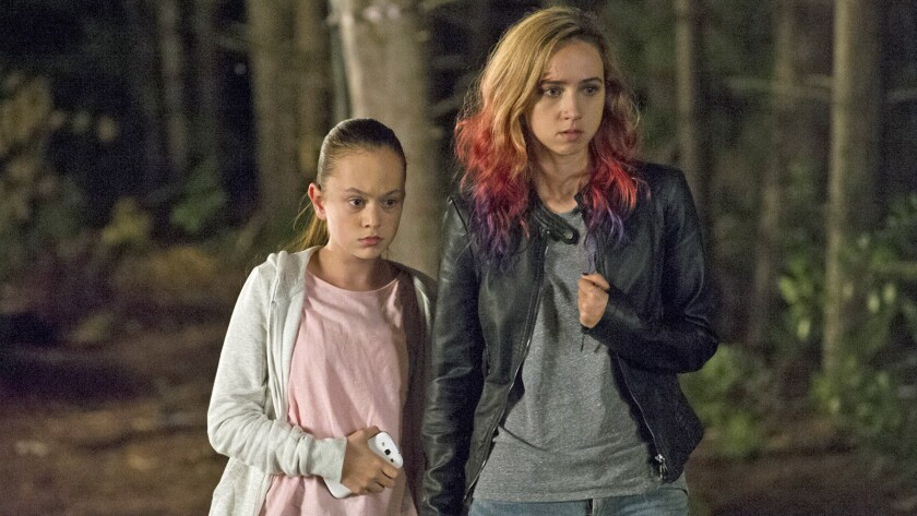 "Ella Ballentine, left, and Zoe Kazan in the movie ""The Monster."""