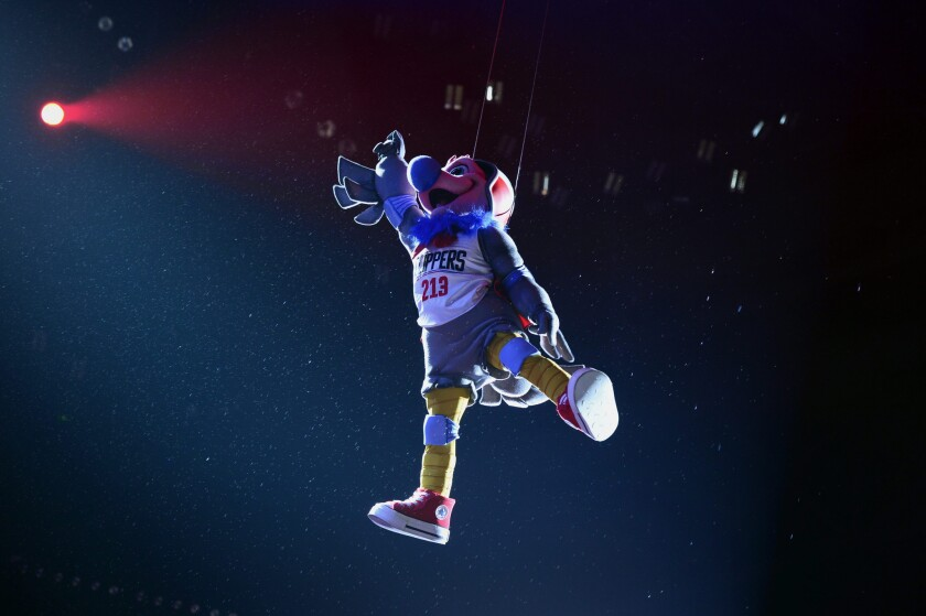 Chuck the Condor, the Clippers' new mascot, descends from the rafters during halftime of a game on Feb. 29.