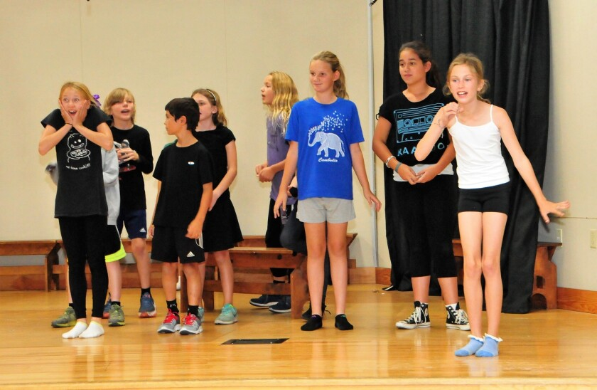 Students rehearse for the upcoming production of Aladdin Jr.