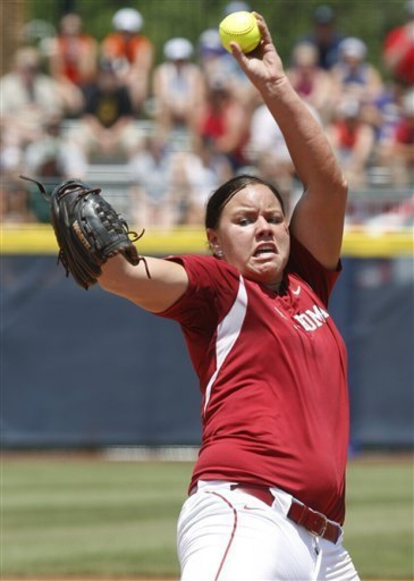 Oklahoma's Keilani Ricketts pitches against Missouri in the second inning of of an NCAA Women's College World Series softball game, Saturday, June 4, 2011, in Oklahoma City. Missouri won 4-1. (AP Photo/Sue Ogrocki)