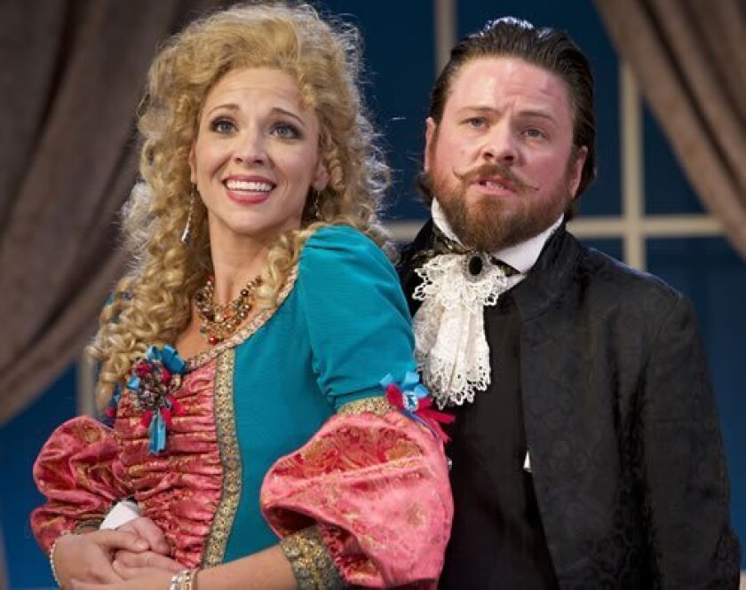 Frank (Richard Baird) and Eliante (Brenda Dodge) enjoy flirting with each other in 'The School For Lies.' Aaron Rumley