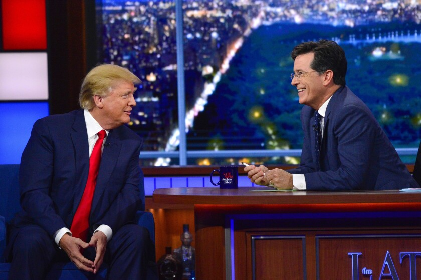 "Donald Trump, left, talks campaign on ""The Late Show with Stephen Colbert"" on Sept. 22, 2015."