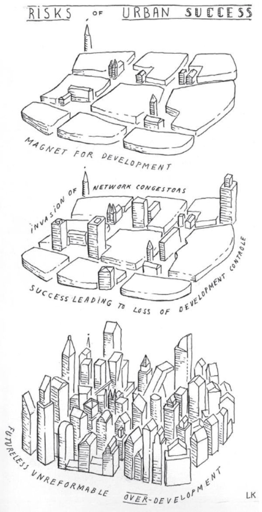 Léon Krier warns that overdevelopment leads to unmanageable congestion and high-rise buildings competing for attention. - Léon Krier drawing