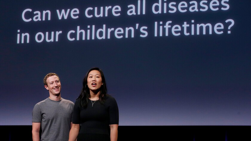 Mark Zuckerberg and Priscilla Chan announce their $3-billion pledge to tackle diseases.