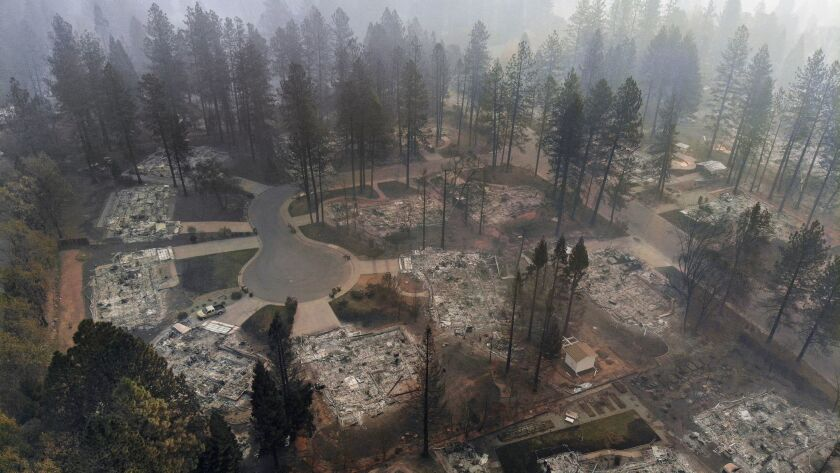 An aerial view of Paradise, Calif., shows the aftermath of the Camp fire, the deadliest fire in state history.