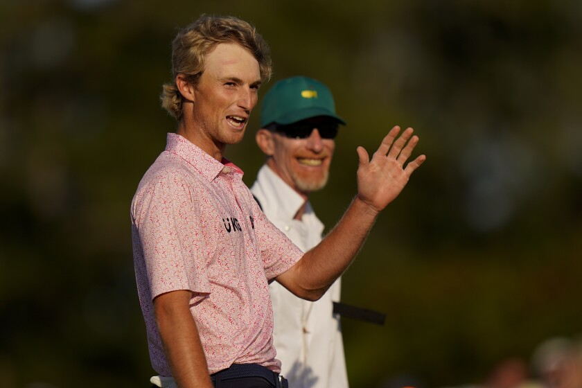 Will Zalatoris waves after putting on the 18th hole during the final round of the Masters golf tournament on Sunday, April 11, 2021, in Augusta, Ga. (AP Photo/Matt Slocum)