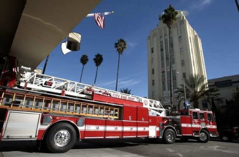 A Los Angeles Fire Department ladder truck.