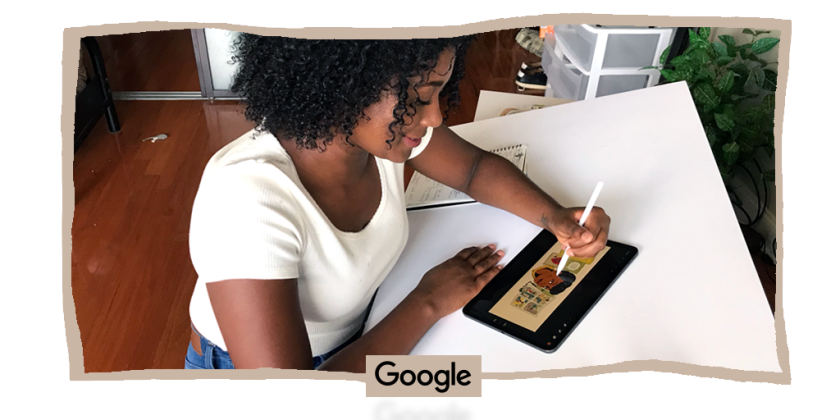 Illustrator Liz Montague sketches today's Google doodle that honors Black female cartoonist Jackie Ormes.