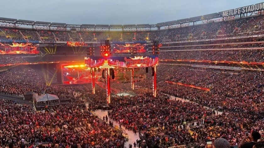 A view of MetLife Stadium in East Rutherford, N.J. during WrestleMania 35 on April 7, 2019.