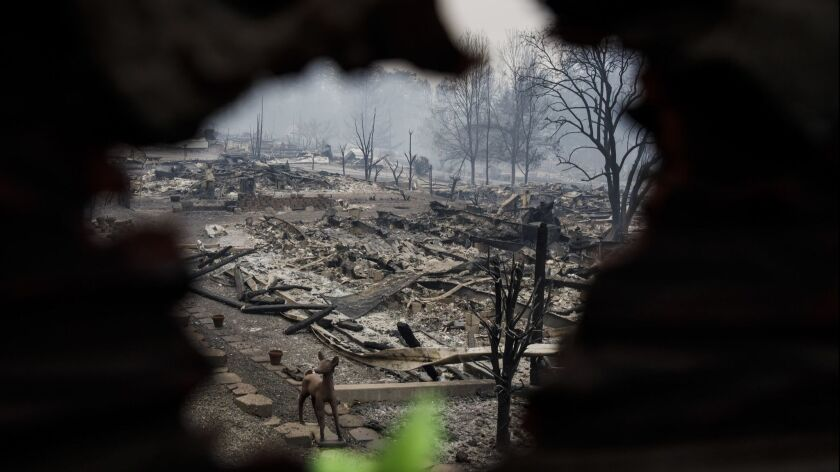 PARADISE, CALIF. -- THURSDAY, NOVEMBER 15, 2018: A view of a mobile home park after it was destroyed