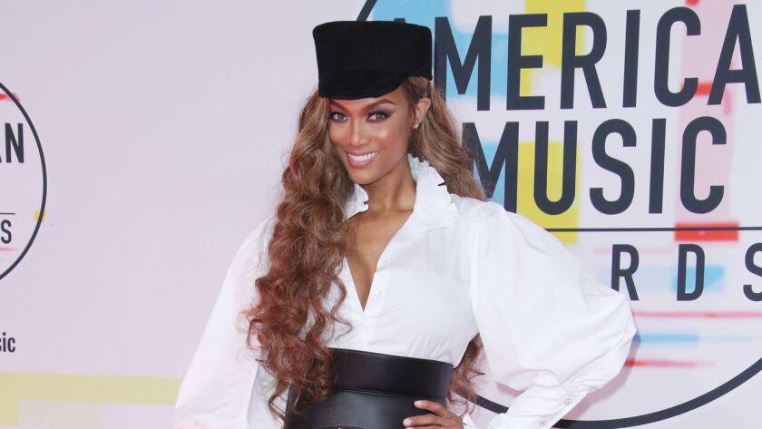 Tyra Banks at the 2018 American Music Awards.