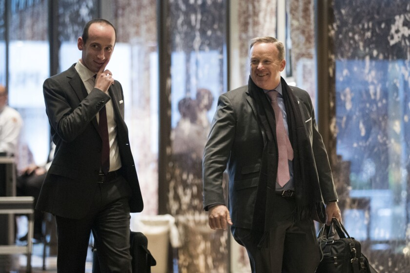 Stephen Miller, senior policy advisor to President-elect Donald Trump, and Sean Spicer, incoming White House press secretary, at Trump Tower in New York.