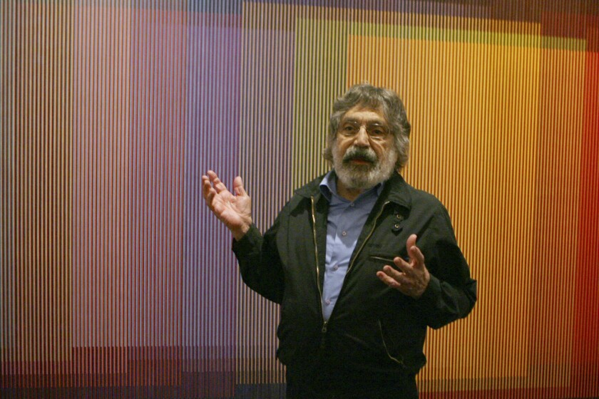 Venezuelan artist Carlos Cruz-Diez talks about his Physichromie No. 500 in New York in 2008.