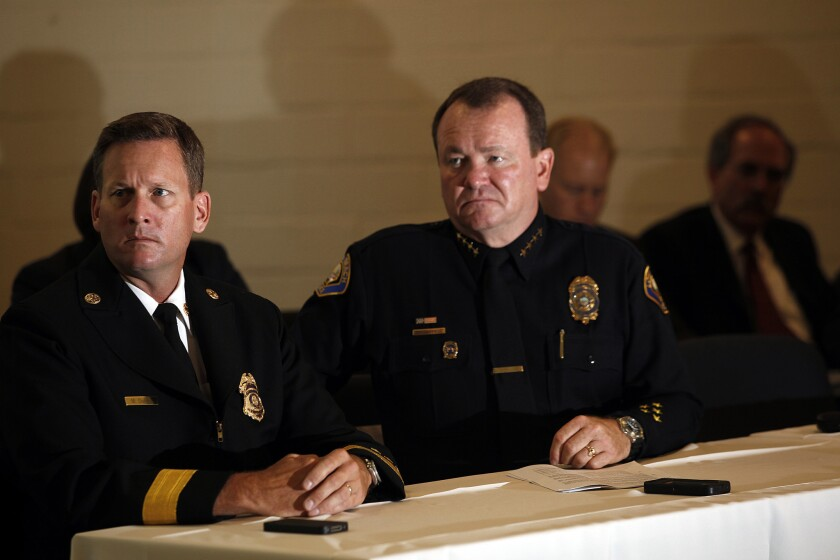 Long Beach Police Chief Jim McDonnell, right. On Thursday, McDonnell announced the city's annual crime statistics.