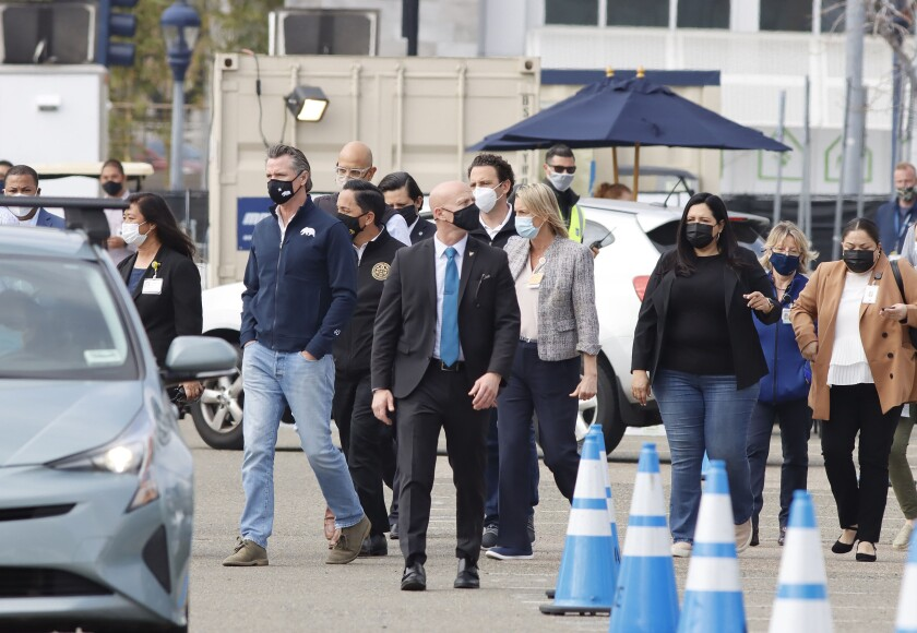 California Gov. Gavin Newsom visited the Petco Park vaccination super site earlier this month.