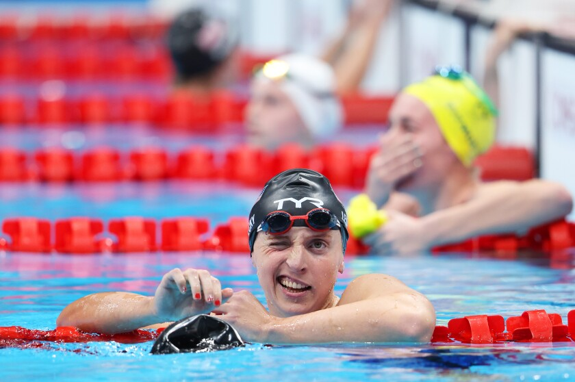 Katie Ledecky reacts after finishing second in the women's 400-meter freestyle behind Australia's Ariarne Titmus.