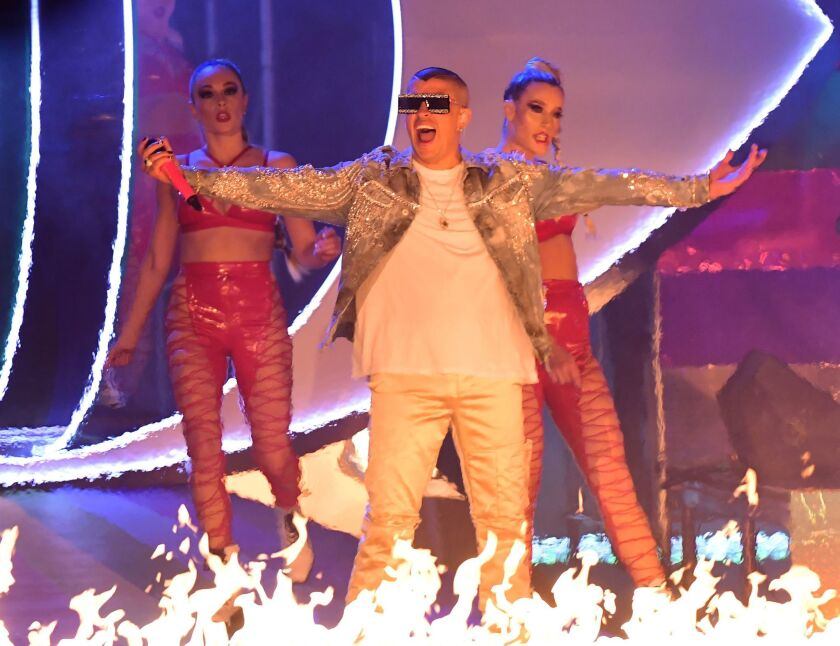 Bad Bunny performs at last year's Latin Grammy Awards in Las Vegas.