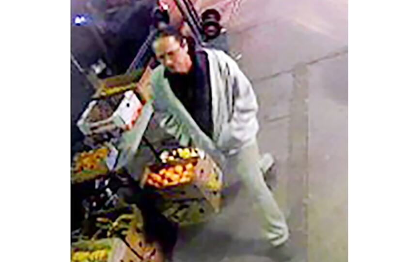 Authorities say this man, shown in an image from security video, is a suspect in a fatal shooting Jan. 6 in Los Angeles.