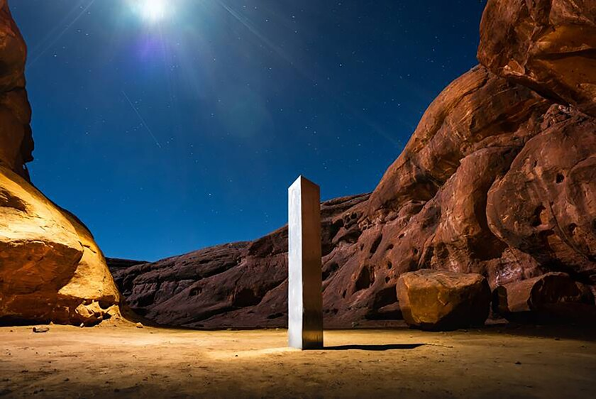 A monolith that was placed in a red-rock desert