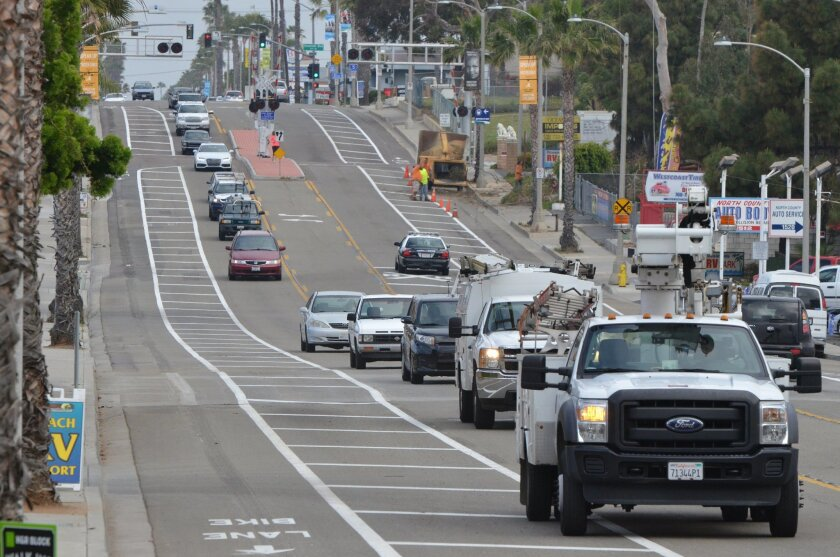 A half mile section of Coast Highway was recently narrowed from four lanes to two as part of a pilot program to evaluate what might happen if all of the highway was turned into a two-lane road.