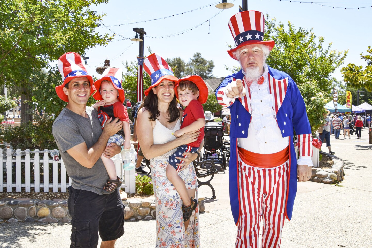 Paul, Ethan, Brooke and Logan Warner with Uncle Sam (Charles Keith).