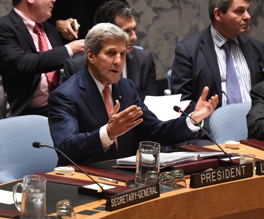 A group of Republican senators issued a letter pressing Secretary of State John F. Kerry, shown here chairing a meeting of the United Nations Security Council on Sept. 19, over details of nuclear negotiations with Iran.