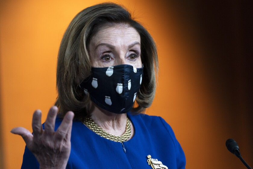 House Speaker Nancy Pelosi of Calif., speaks to the media, Thursday, April 15, 2021, during her weekly briefing on Capitol Hill in Washington. (AP Photo/Jacquelyn Martin)
