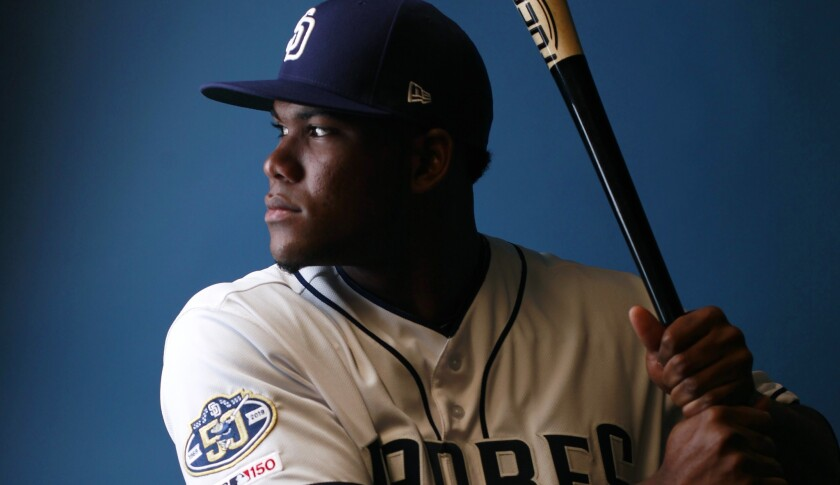 San Diego Padres outfielder Franchy Cordero on Feb. 21, 2019.