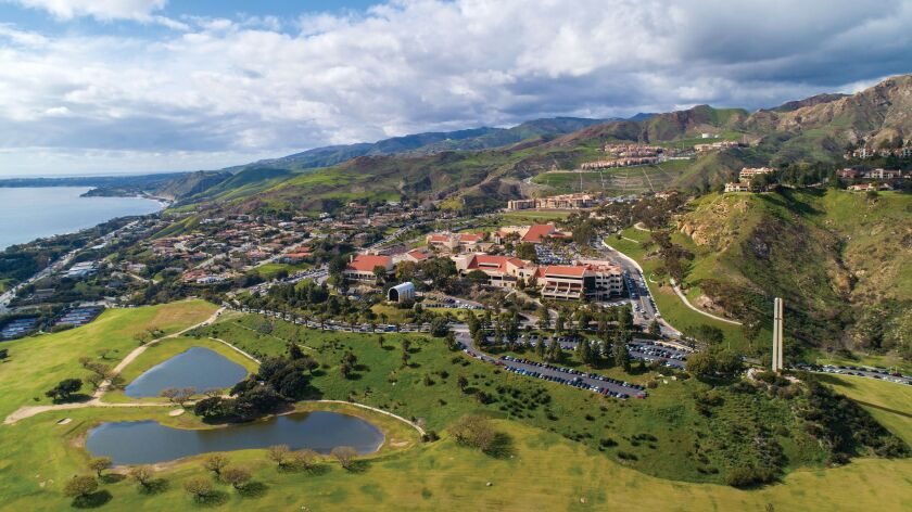 An aerial view of Pepperdine University's seaside campus