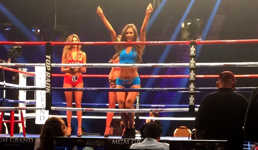 Ring girls practice their routine before the first fight of the Mayweather-Pacquiao card on Saturday at the MGM Grand Garden Arena.