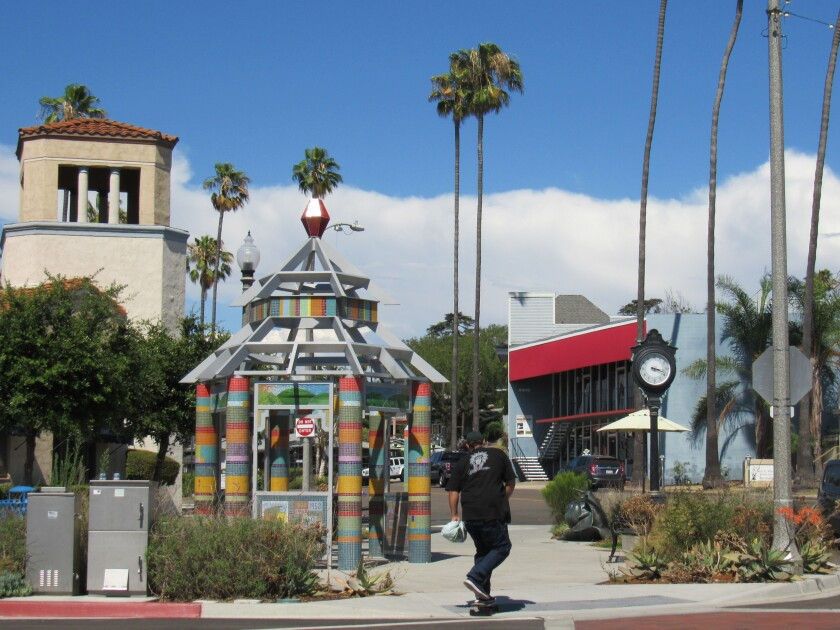 A skateboarder rides toward a piece of art at The Lookout in La Mesa. The city will have a dedicated commission for culture.