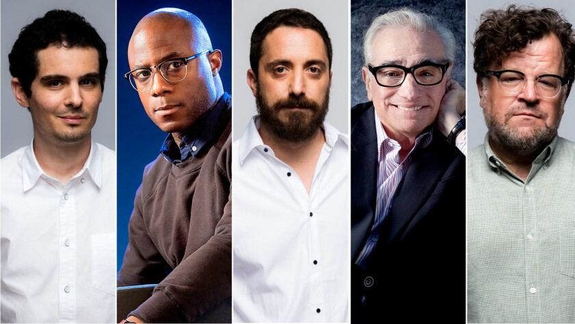 Damien Chazelle, Barry Jenkins, Pablo Larrain, Martin Scorsese and Kenneth Lonergan.