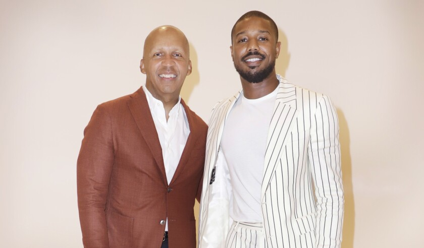 "Michael B. Jordan, right, plays civil rights attorney Bryan Stevenson, left, in ""Just Mercy."""
