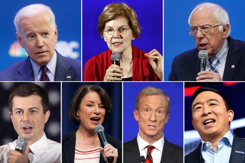 Democratic presidential debate candidates Joe Biden, Elizabeth Warren, Bernie Sanders, Andrew Yang, Tom Steyer, Amy Klobuchar and Pete Buttigieg