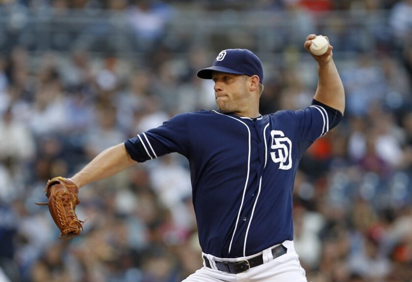 Padres pitcher Eric Stults pitches in the second as the Padres took on the San Francisco Giants Saturday night at Petco Park. | Photo by Earnie Grafton/UT San Diego