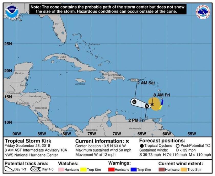 Imagen cedida por el Centro Nacional de Huracanes (NHC) hoy, viernes 28 de septiembre de 2018, que muestra el pronóstico de tres días de la tormenta tropical Kirk, que se espera se debilite a depresión tropical hoy mismo o este sábado. EFE/NHC/SOLO USO EDITORIAL/NO VENTAS
