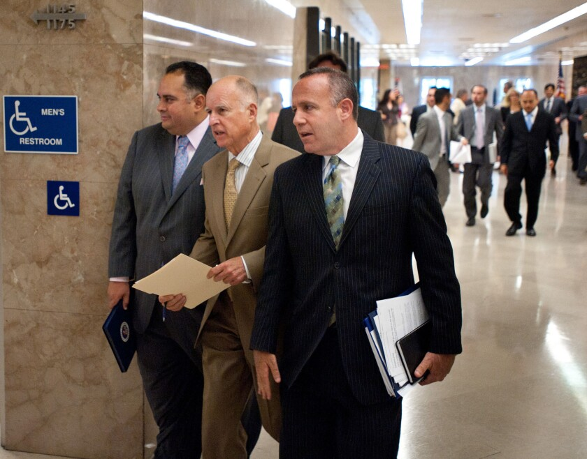 Gov. Jerry Brown told federal judges he can only propose prison expansions. Sen. Darrell Steinberg, right, said Friday he does not support increasing state prison spending.
