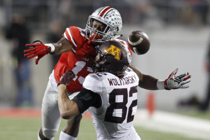 Ohio State cornerback Eli Apple, top, breaks up a pass intended for Minnesota wide receiver Drew Wolitarsky during the second quarter of an NCAA college football game Saturday, Nov. 7, 2015, in Columbus, Ohio. (AP Photo/Paul Vernon)