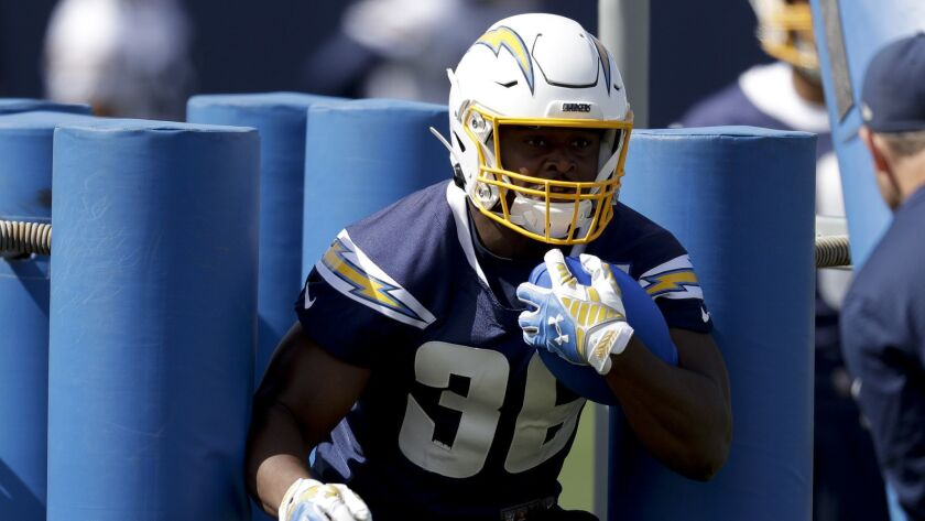 Los Angeles Chargers running back Detrez Newsome works out during an NFL football training camp in C