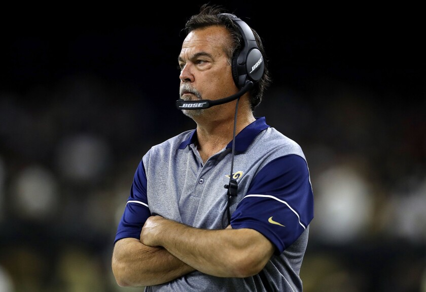 Rams Coach Jeff Fisher watches as his team falls to the Saints during their game Nov. 27.