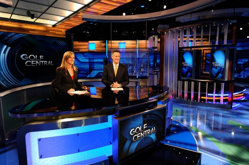 "Golf Channel anchors Kelly Tilghman and Rich Lerner on the new set of ""Golf Central."""