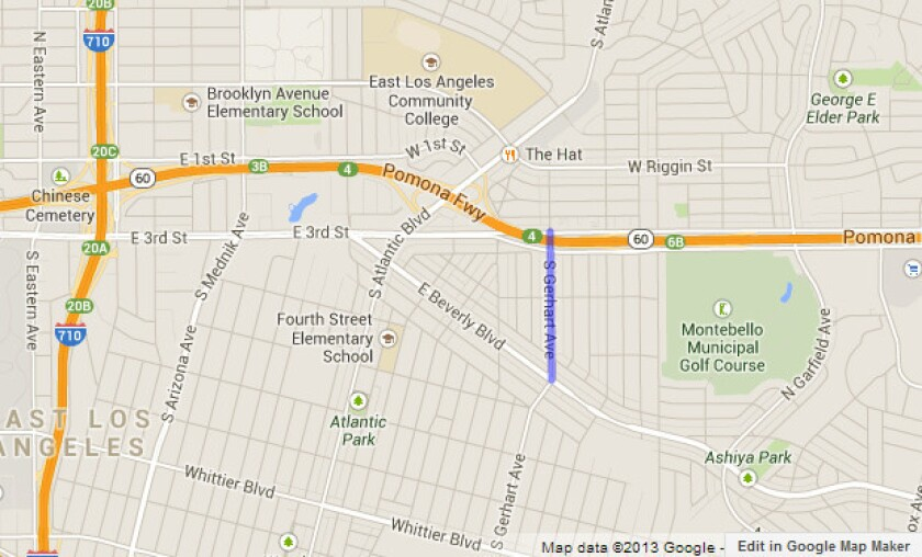 Approximate location, shown in blue, where residents are being evacuated due to a gas leak.