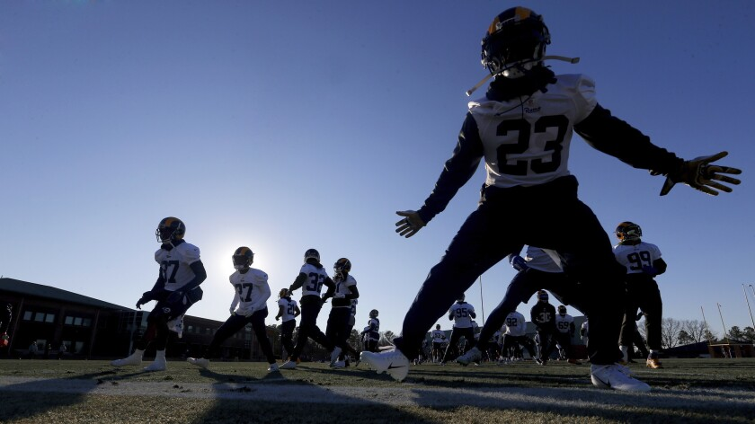 Los Angeles Rams workout during NFL football practice, Thursday, Jan. 31, 2019, in Flowery Branch, G