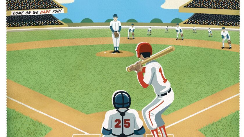 Illustration on baseball defensive shifts Credit: Peter Hoey/For The Times