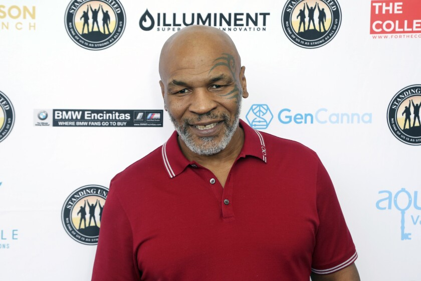 Mike Tyson attends a celebrity golf tournament in August 2019 in Dana Point