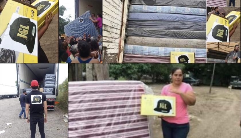 La ayuda entregada a damnificados en Sinaloa, con las siglas del narcotraficante Joaquín Guzmán Loera (JGL), 'El Chapo'.