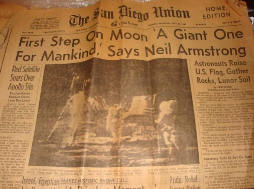 The headline in the San Diego Union when Armstrong and Aldrin landed on the moon.