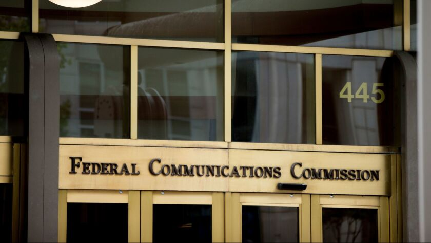 The entrance to the Federal Communications Commission's building in Washington, D.C.